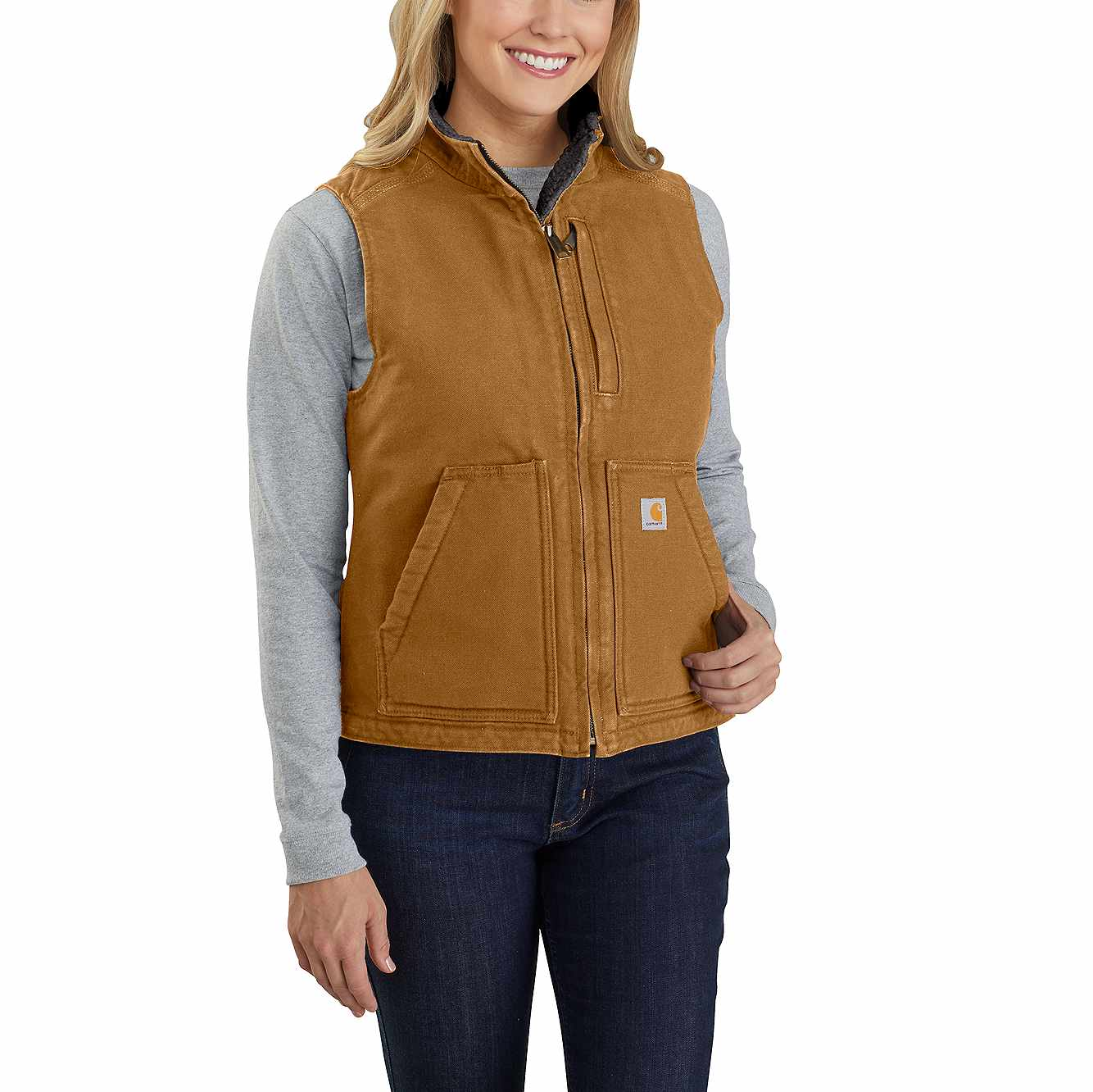 Picture of RELAXED FIT WASHED DUCK SHERPA LINED MOCK NECK VEST