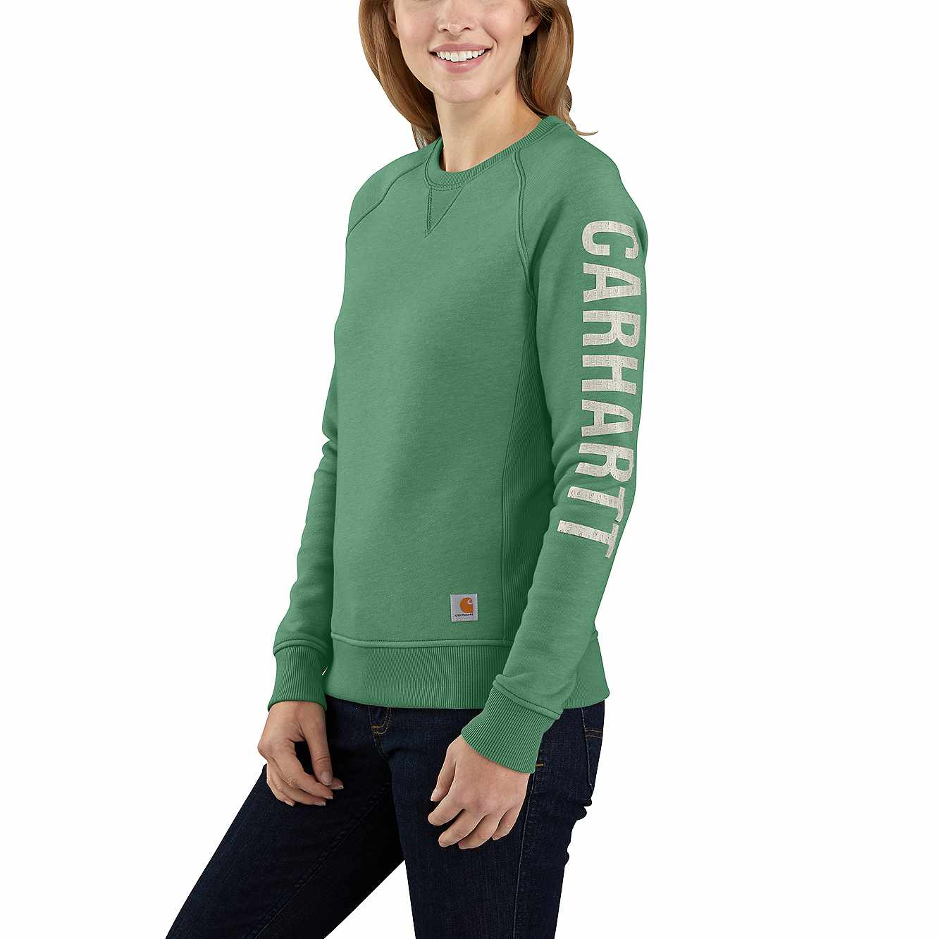 Picture of RELAXED FIT MIDWEIGHT CREWNECK BLOCK LOGO SLEEVE GRAPHIC SWEATSHIRT