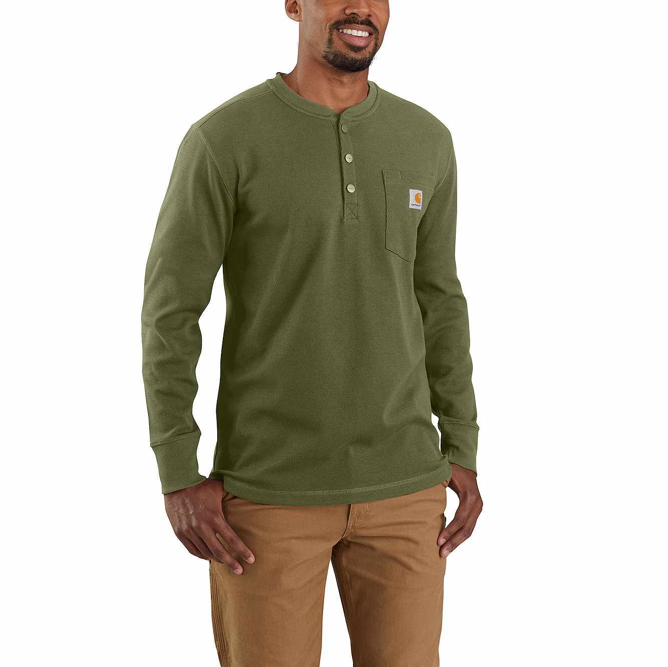 Picture of RELAXED FIT HEAVYWEIGHT LONG-SLEEVE HENLEY POCKET THERMAL SHIRT