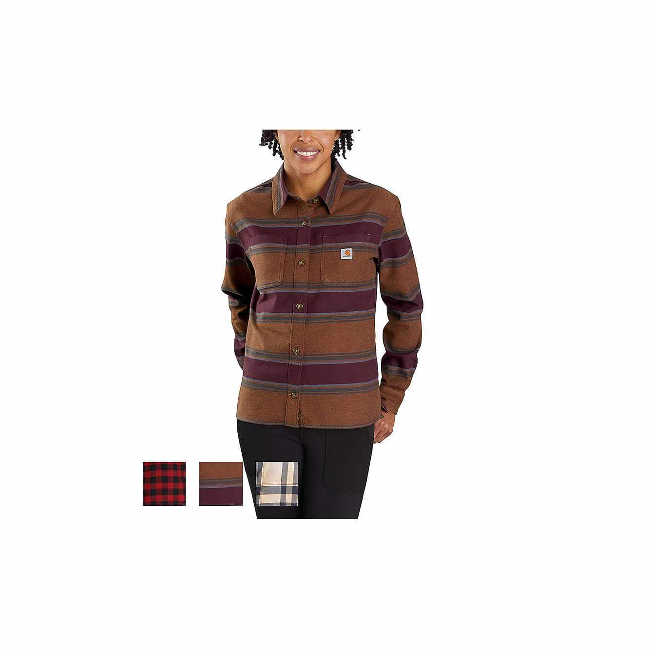 Picture of RUGGED FLEX® LOOSE FIT MIDWEIGHT FLANNEL LONG-SLEEVE PLAID SHIRT