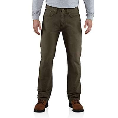 Carhartt Men's Dark Coffee Weathered Duck 5-Pocket Pant - front