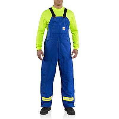Carhartt Men's Royal Flame-Resistant Duck Bib Overall with Reflective Striping/Quilt-Lined - front
