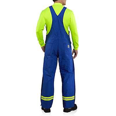 Carhartt Men's Royal Flame-Resistant Duck Bib Overall with Reflective Striping/Quilt-Lined - back
