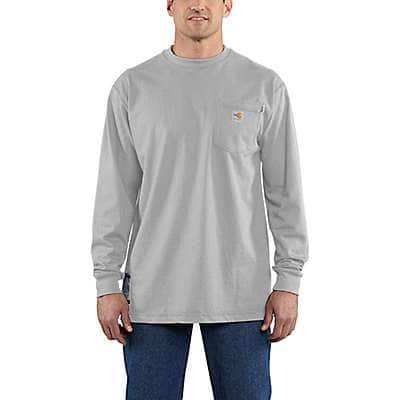 Carhartt Men's Light Gray Flame-Resistant Carhartt Force® Cotton Long-Sleeve T-Shirt - front