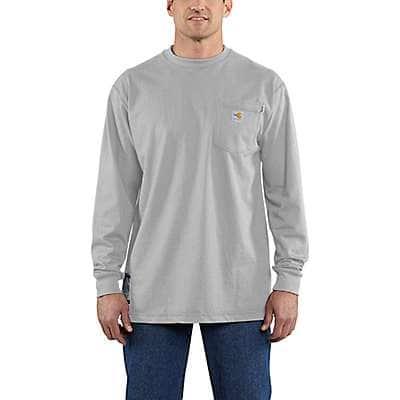 Carhartt Men's Light Gray Flame-Resistant Carhartt Force® Cotton Long-Sleeve T-Shirt - front