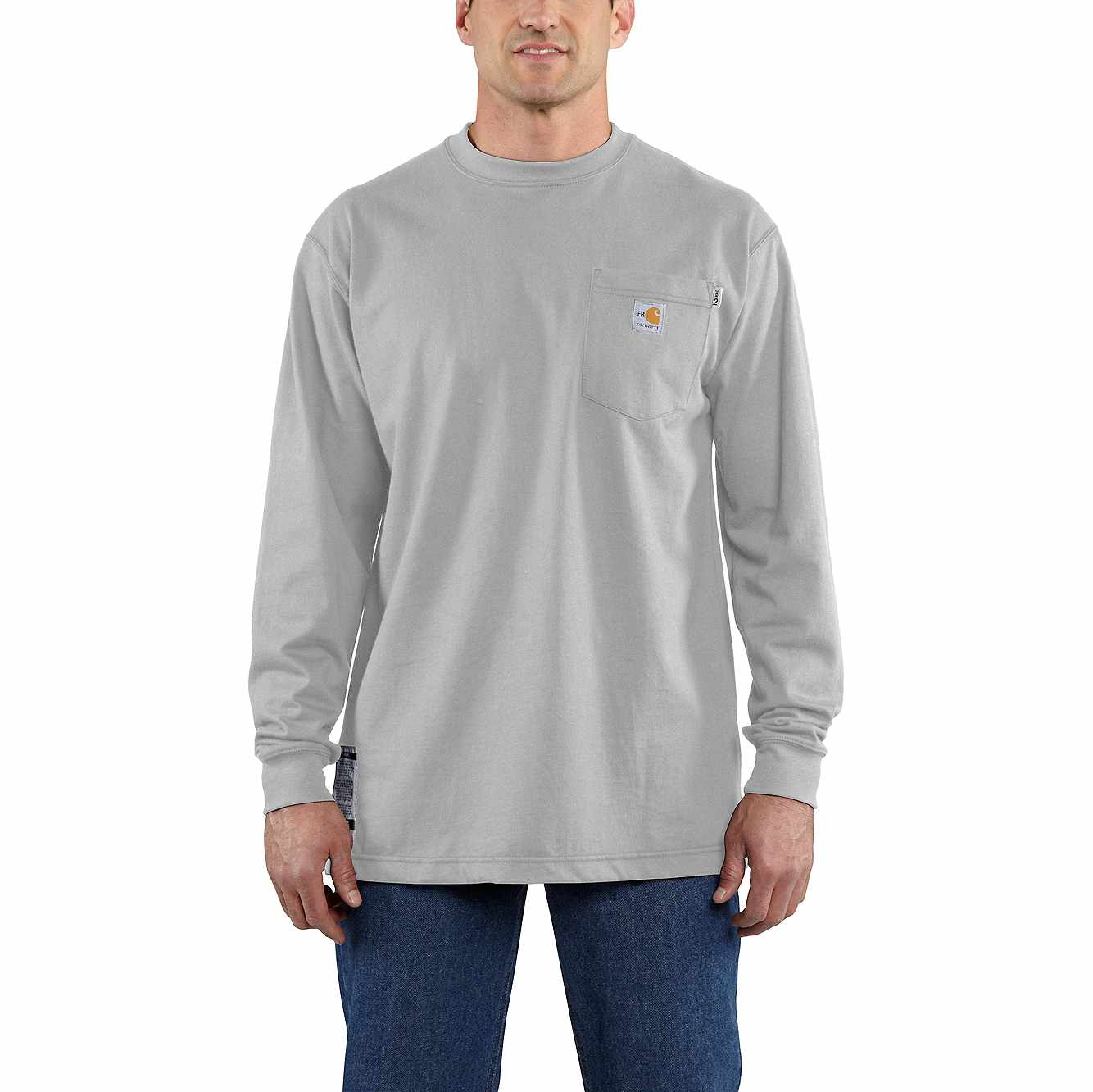 Picture of Flame-Resistant Carhartt Force® Cotton Long-Sleeve T-Shirt in Light Gray