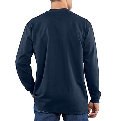 Carhartt Men's Light Gray Flame-Resistant Carhartt Force® Cotton Long-Sleeve T-Shirt - back
