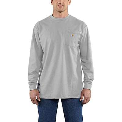 Carhartt Men's Light Gray Flame-Resistant Force Cotton Long-Sleeve T-Shirt