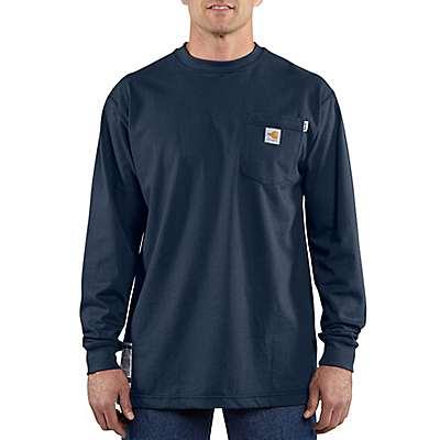 Carhartt Men's Dark Navy Flame-Resistant Force Cotton Long-Sleeve T-Shirt