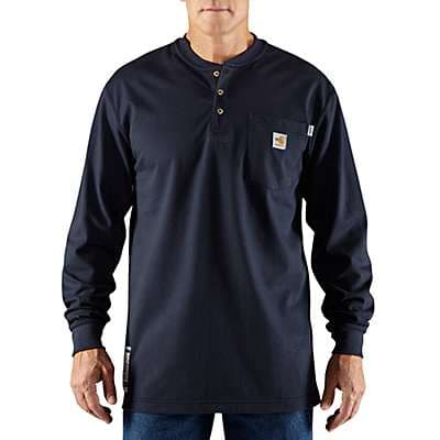 Carhartt Men's Dark Navy Flame-Resistant Carhartt Force® Cotton Long-Sleeve Henley - front