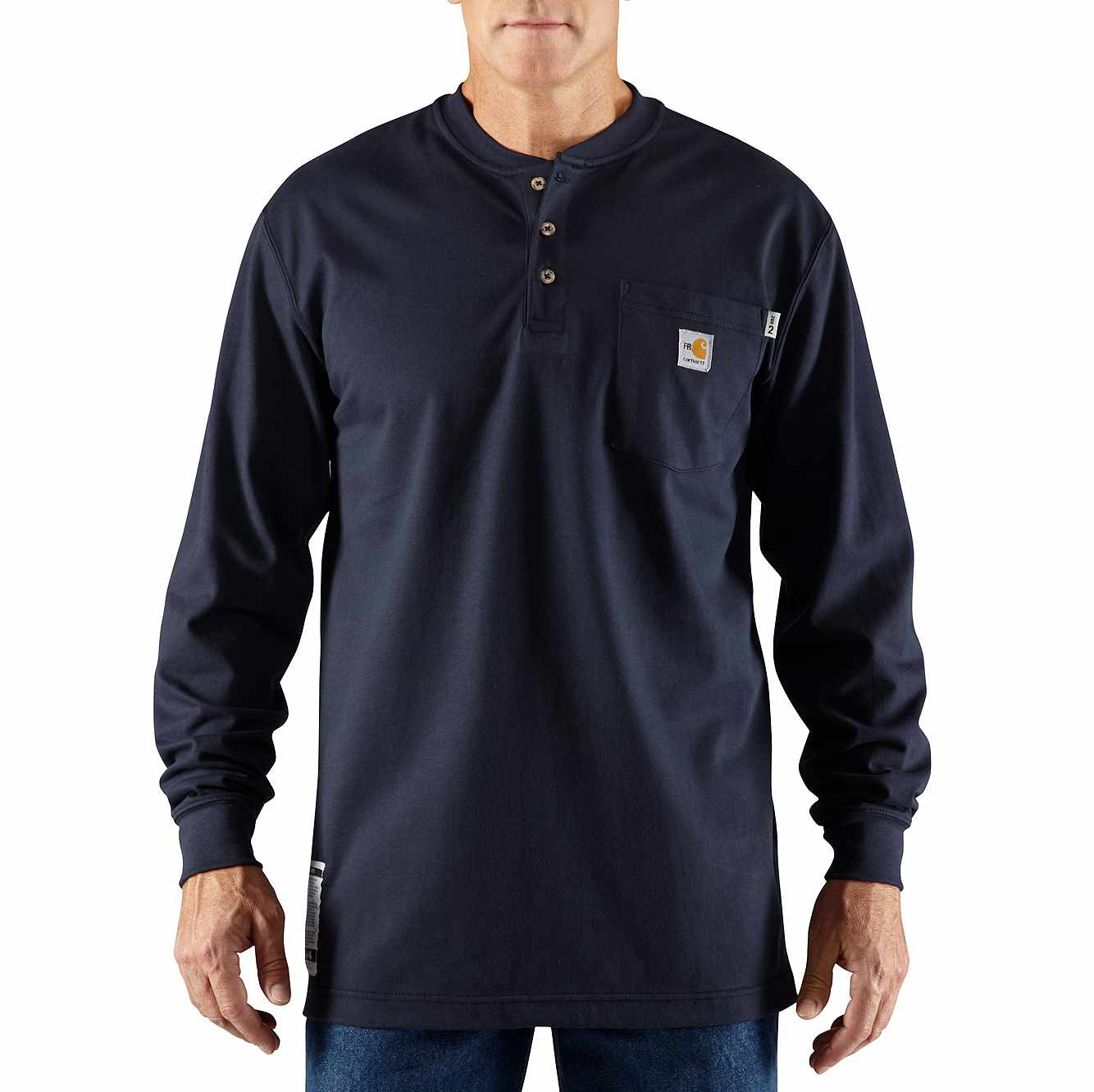 Picture of Flame-Resistant Carhartt Force® Cotton Long-Sleeve Henley in Dark Navy