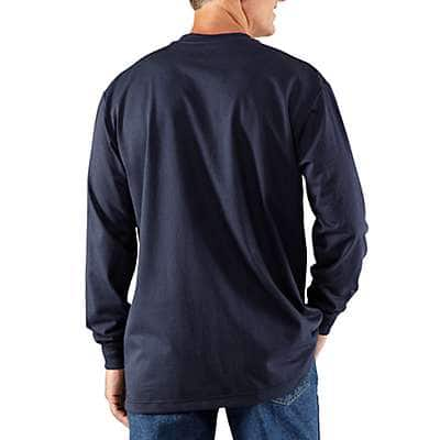 Carhartt Men's Dark Navy Flame-Resistant Carhartt Force® Cotton Long-Sleeve Henley - back