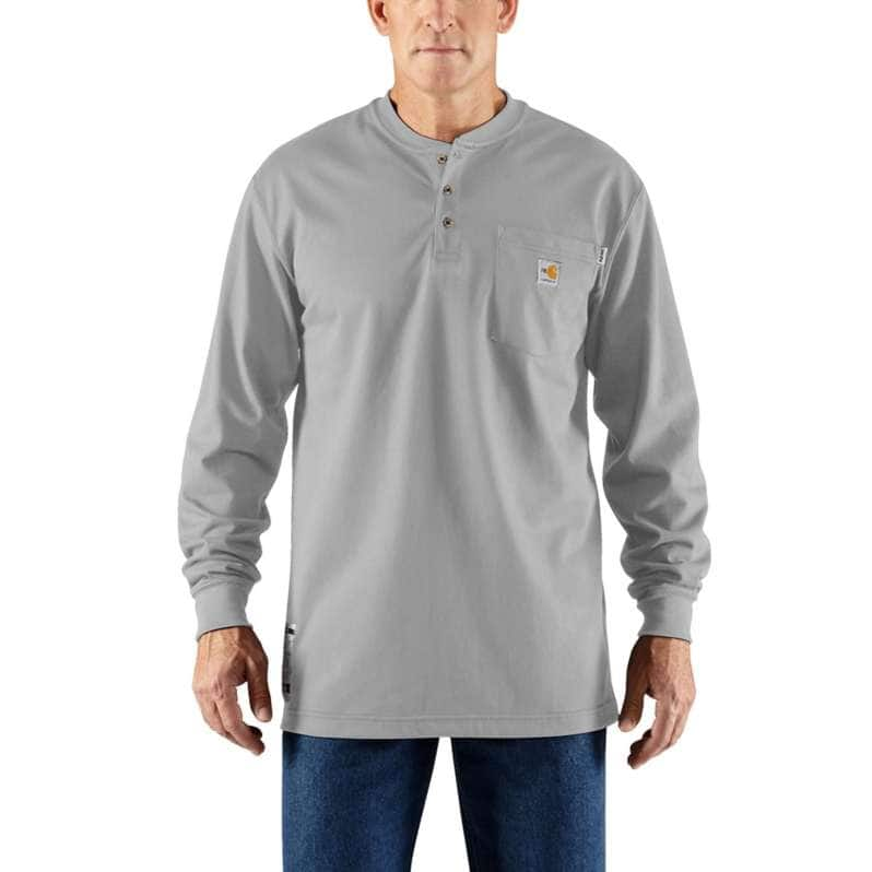 Carhartt  Light Gray Flame-Resistant Force Cotton Long-Sleeve Henley