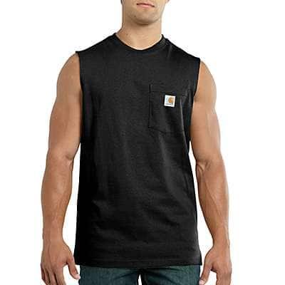 Carhartt Men's Black Relaxed Fit Heavyweight Sleeveless Pocket T-Shirt