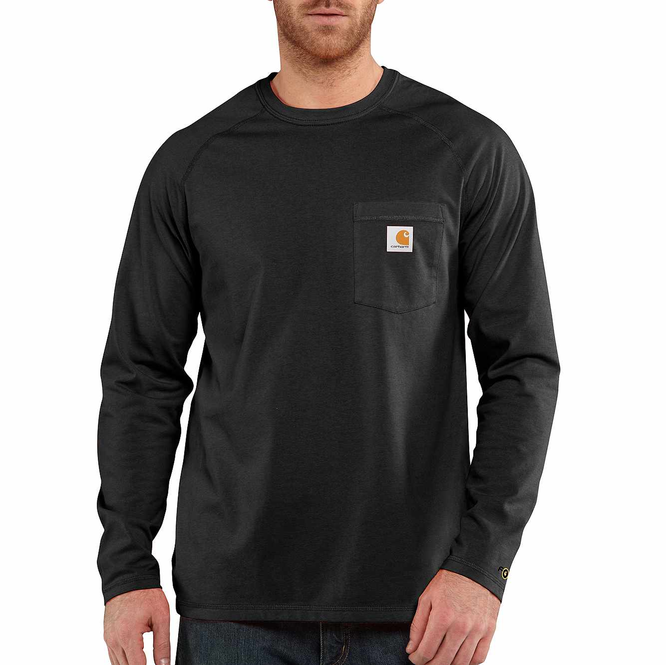 Picture of Carhartt Force® Cotton Delmont Long-Sleeve T-Shirt in Black