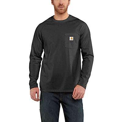 Carhartt Men's Black Carhartt Force® Cotton Delmont Long-Sleeve T-Shirt - front