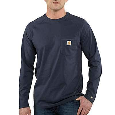 Carhartt Men's Navy Carhartt Force® Cotton Delmont Long-Sleeve T-Shirt - front