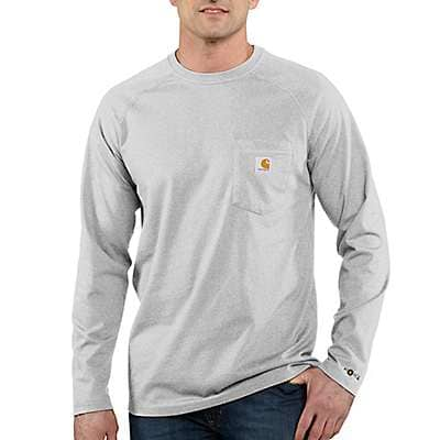 Carhartt Men's Heather Gray Force Relaxed Fit Midweight Long-Sleeve Pocket T-Shirt