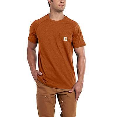 Carhartt Men's Umber Heather Carhartt Force® Cotton Delmont Short-Sleeve T-Shirt - front
