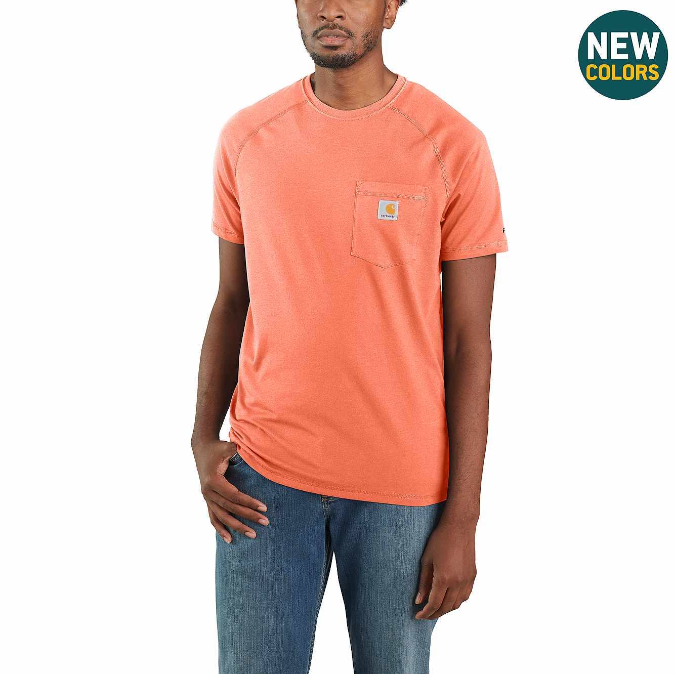 Picture of Carhartt Force® Cotton Delmont Short-Sleeve T-Shirt in Pumpkin