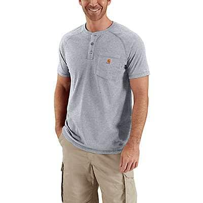 Carhartt Men's Red Brown Heather Carhartt Force® Cotton Delmont Short-Sleeve Henley - front