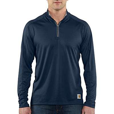 Carhartt Men's Navy Carhartt Force® Long-Sleeve Quarter Zip T-Shirt - front