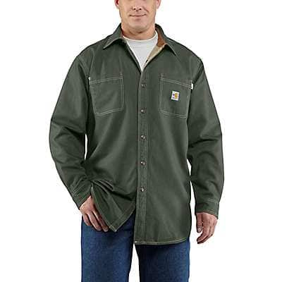 Carhartt Men's Moss Flame-Resistant Canvas Shirt Jac - front
