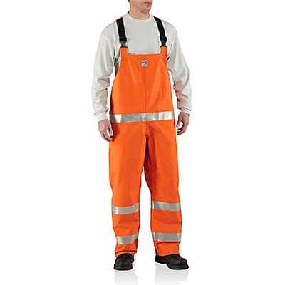 Carhartt Men's Bold Orange Flame-Resistant Rainwear Bib Overall - front