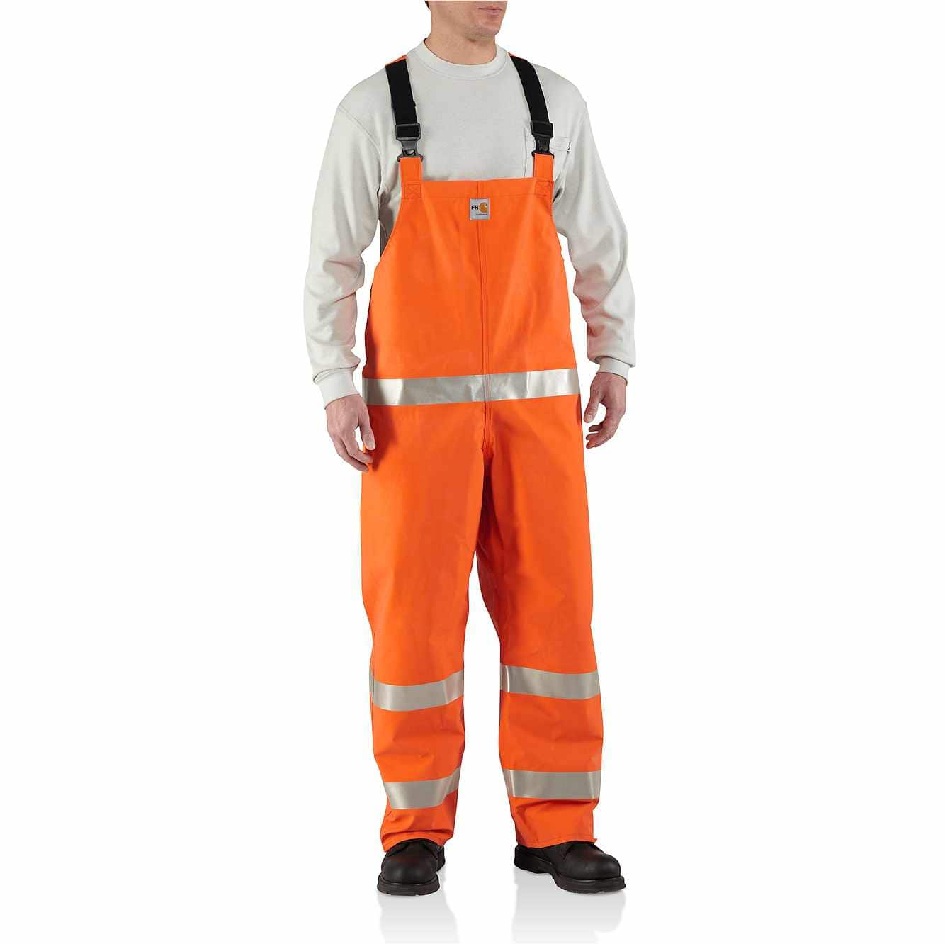 Picture of Flame-Resistant Rainwear Bib Overall in Bold Orange