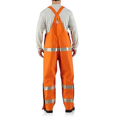 Carhartt  Bold Orange Flame-Resistant Rainwear Bib Overall - back