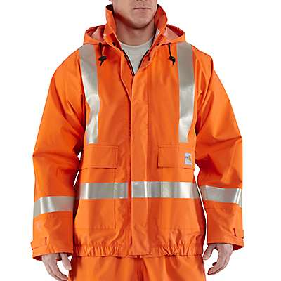 Carhartt Men's Bold Orange Flame-Resistant Rain Jacket - front