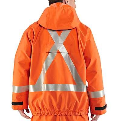 Carhartt Men's Bold Orange Flame-Resistant Rain Jacket - back