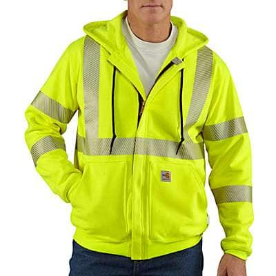 Carhartt Men's Brite Lime Flame-Resistant Heavyweight High-Visibility Class 3 Hooded Zip-Front Sweatshirt - front
