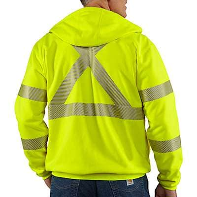 Carhartt  Brite Lime Flame-Resistant Heavyweight High-Visibility Class 3 Hooded Zip-Front Sweatshirt - back