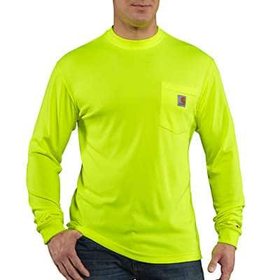 Carhartt Men's Brite Lime Carhartt Force® Color Enhanced Long-Sleeve T-Shirt - front