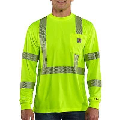 Carhartt  Brite Lime Carhartt Force® High-Visibility Long-Sleeve Class 3 T-Shirt - front