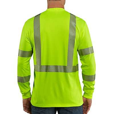 Carhartt Men's Brite Lime Carhartt Force® High-Visibility Long-Sleeve Class 3 T-Shirt - back
