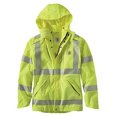 Carhartt Men's Brite Lime High-Visibility Class 3 Waterproof Jacket - front