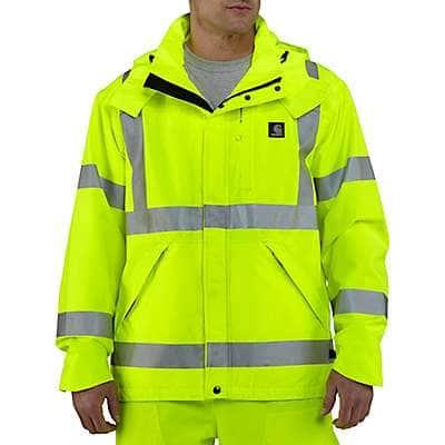 Carhartt Men's Brite Lime High-Visibility Class 3 Waterproof Jacket