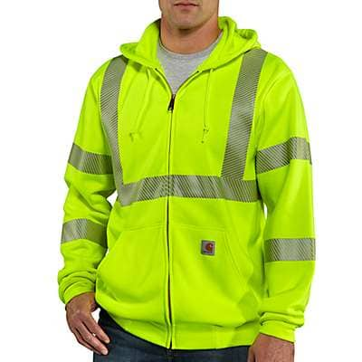 Carhartt Men's Brite Lime High-Visibility Zip-Front Class 3 Sweatshirt - front