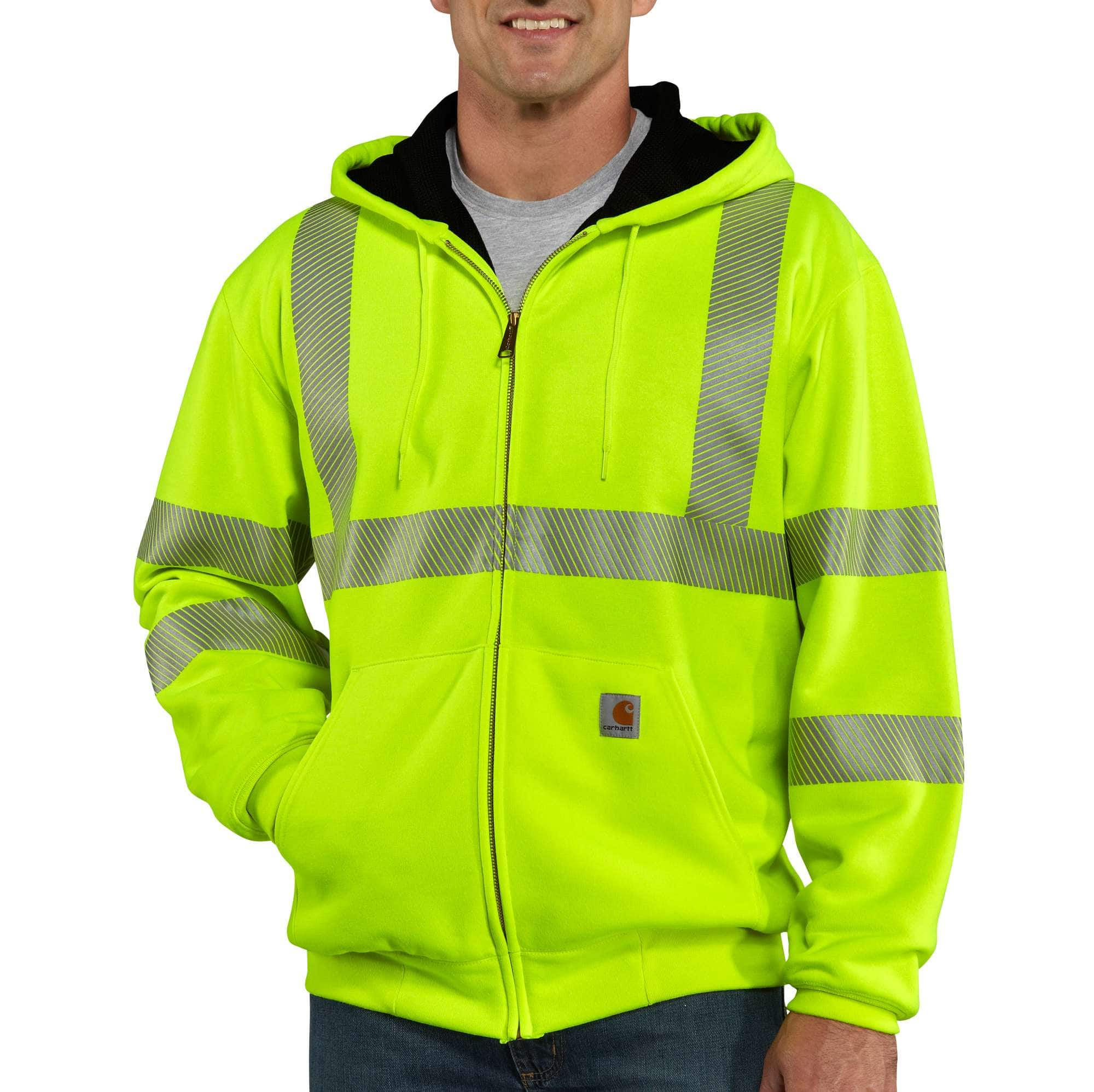 Men Reflective Tops Road Work High Visibility Hooded Pullover Sweatshirt Coats