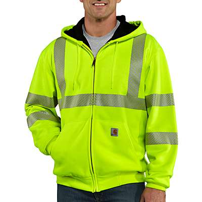Carhartt Men's Brite Lime High-Visibility Zip-Front Class 3 Thermal-Lined Sweatshirt - front