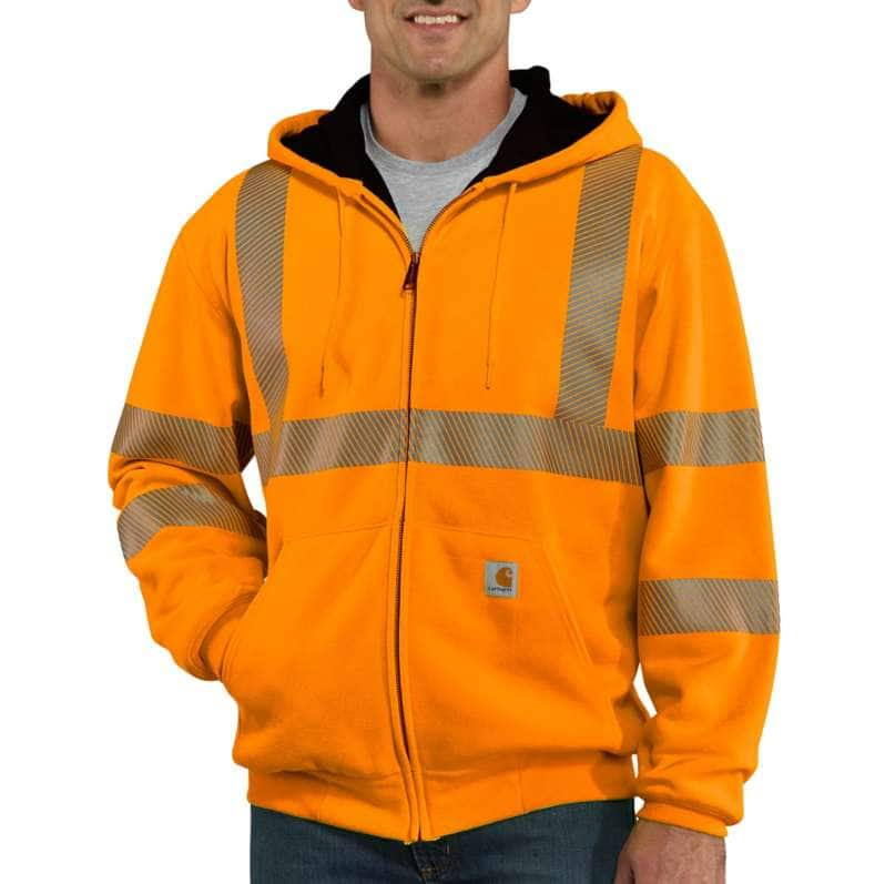 Carhartt  Brite Orange High-Visibility Zip-Front Class 3 Thermal-Lined Sweatshirt