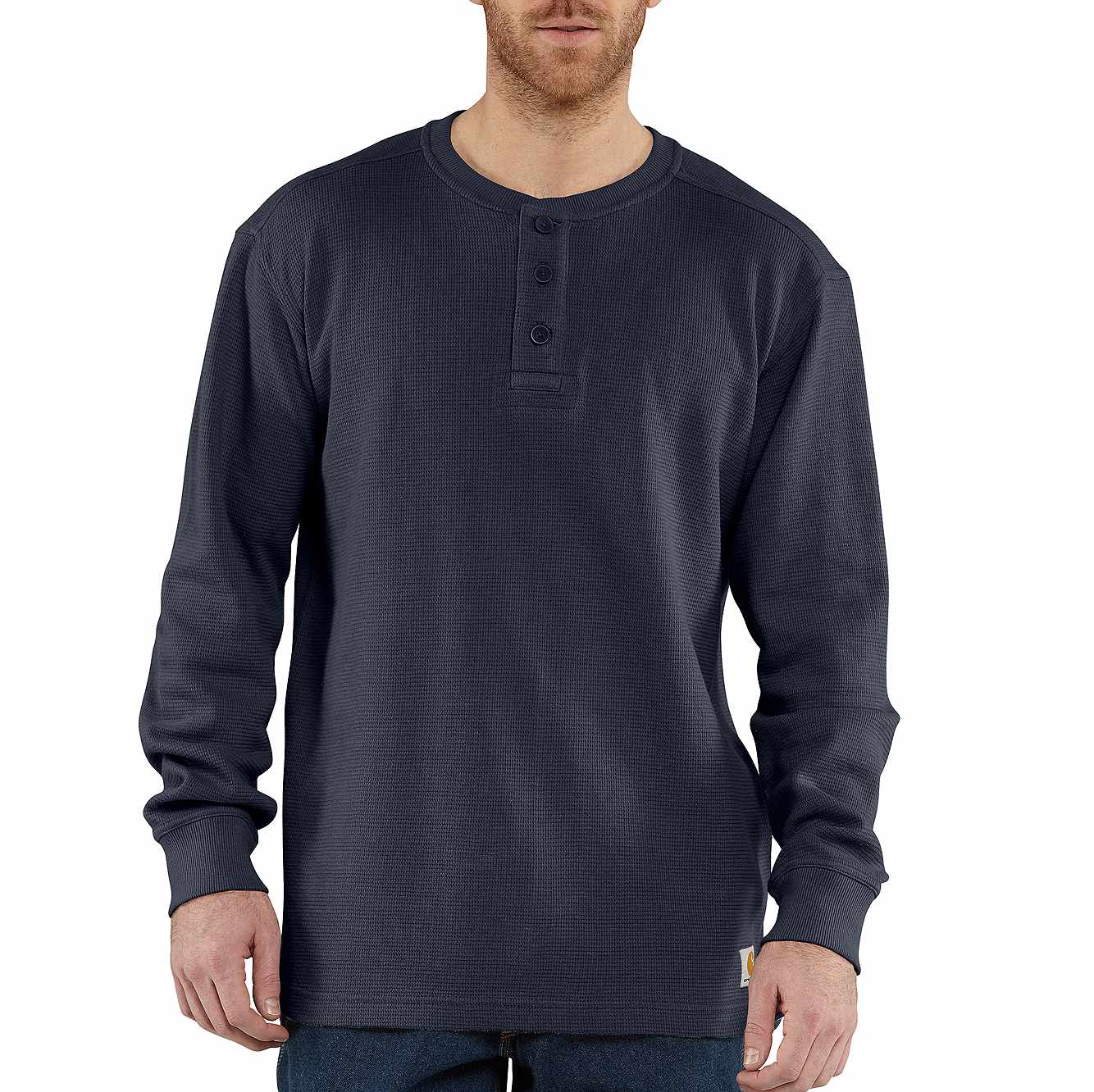 Picture of Textured Knit Henley in Navy