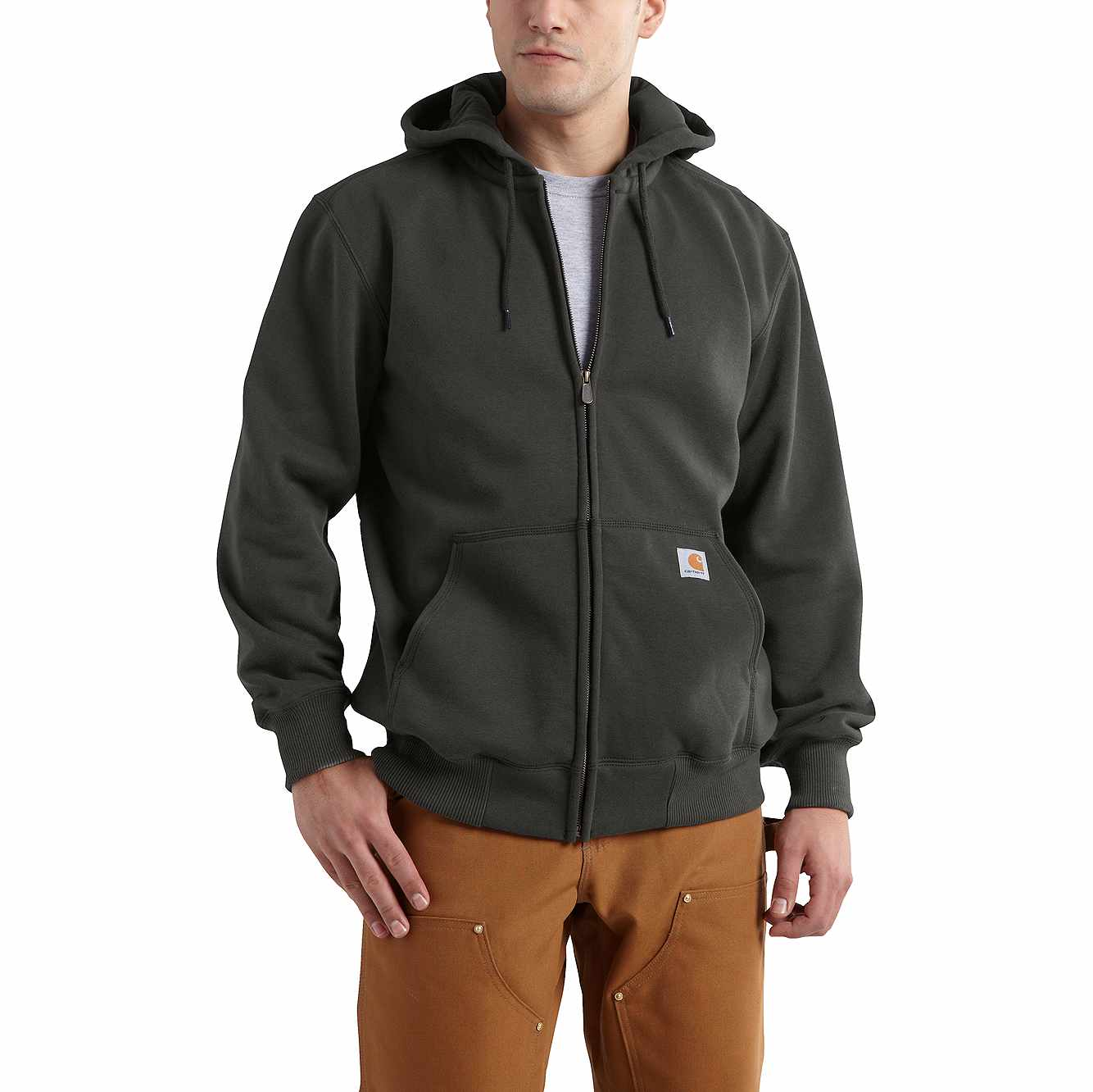 Picture of Rain Defender® Paxton Heavyweight Hooded Zip-Front Sweatshirt in Peat