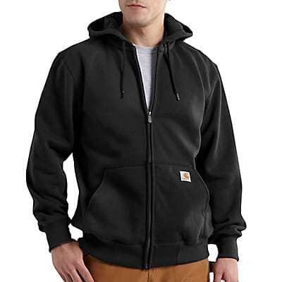 Carhartt Men's Black Rain Defender® Loose Fit Heavyweight Full-Zip Sweatshirt