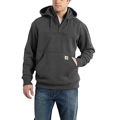 Carhartt Men's Carbon Heather Rain Defender® Paxton Heavyweight Hooded Zip Mock Sweatshirt - front