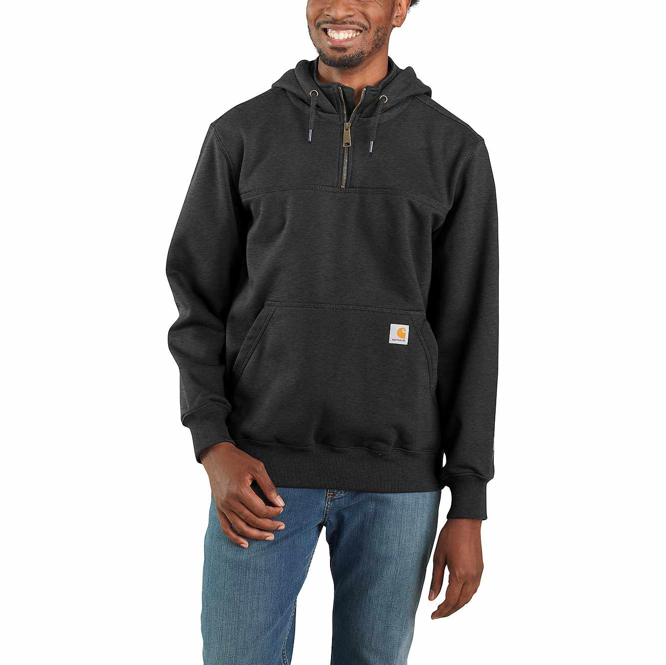 Picture of Rain Defender® Paxton Heavyweight Hooded Zip Mock Sweatshirt in Carbon Heather