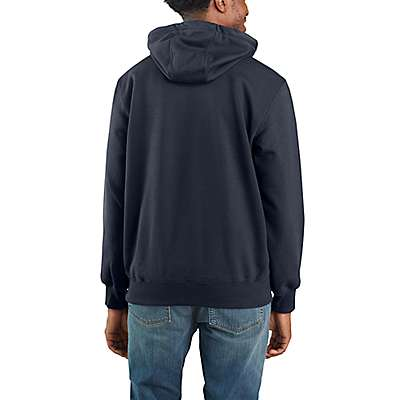 Carhartt Men's Carbon Heather Rain Defender® Paxton Heavyweight Hooded Zip Mock Sweatshirt - back