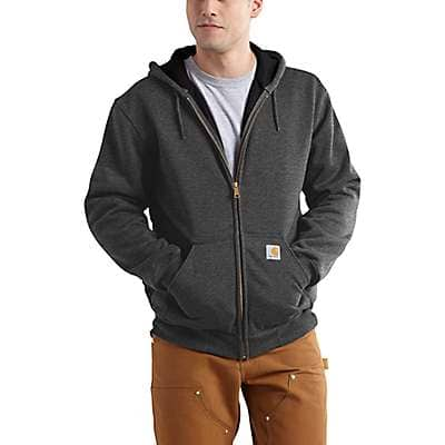 Carhartt Men's Carbon Heather Rain Defender® Rutland Thermal-Lined Hooded Zip-Front Sweatshirt - front